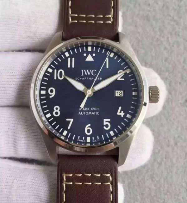 IWC MKF Mark XVIII Le Petit Prince Blue Dial Leather Strap