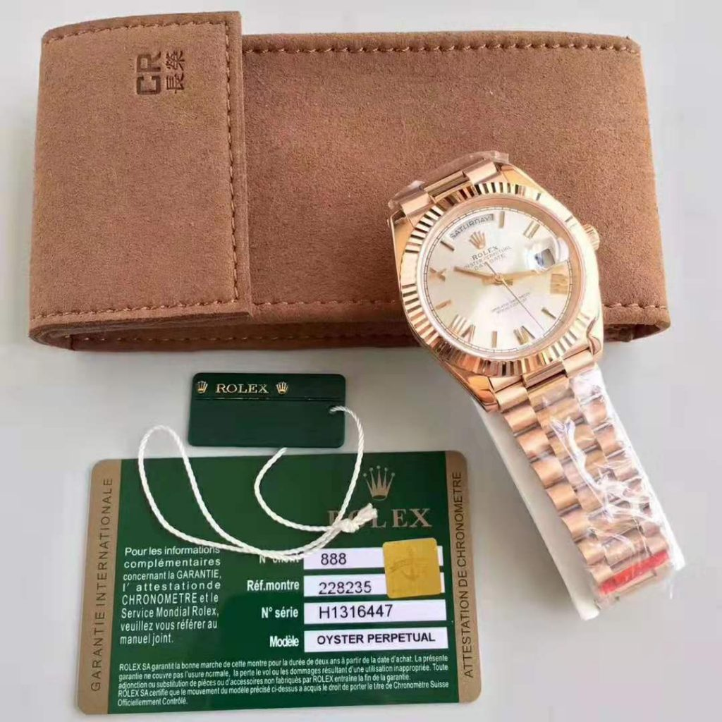 Replica Rolex Day Date 40mm 18K Rose Gold Watch review
