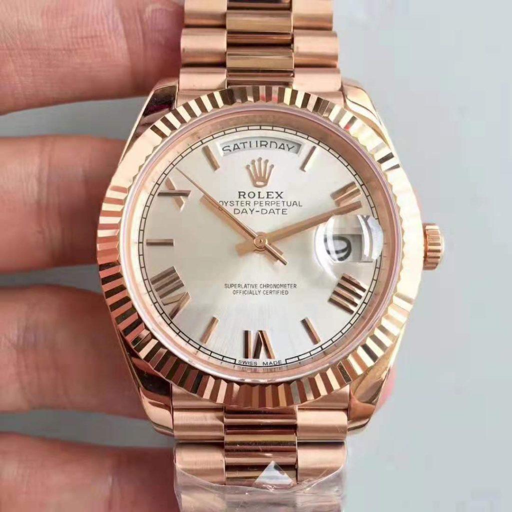 Replica Rolex Day Date 40mm 18K Rose Gold Watch