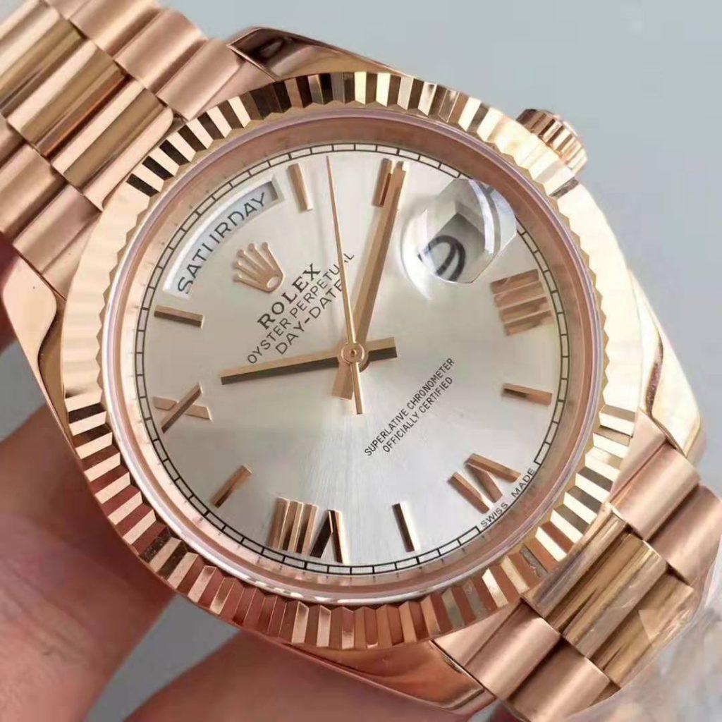swissmade.sr Replica Rolex Day Date 40mm 18K Rose Gold Watch